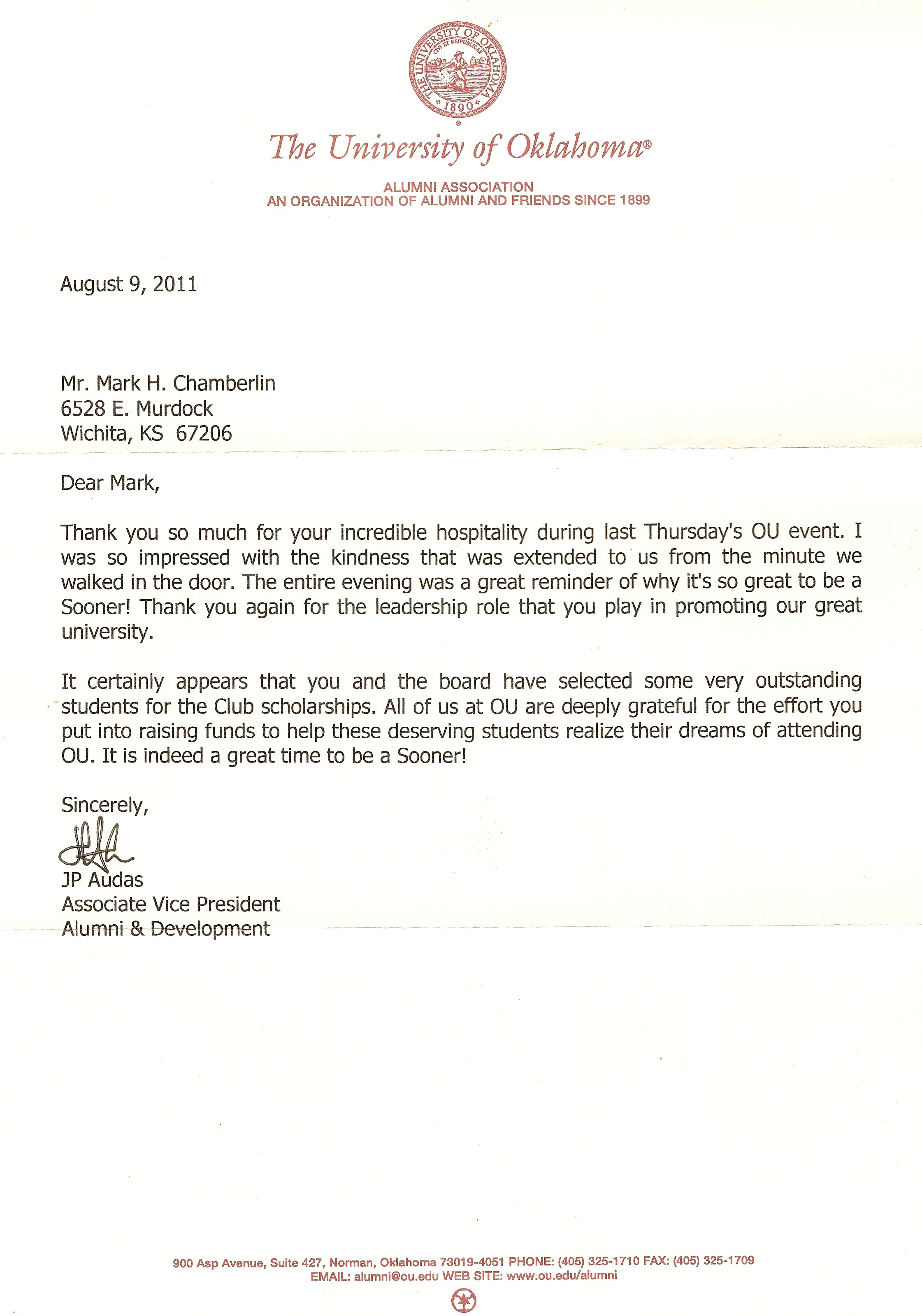 Audas Thank You letter Aug 2011
