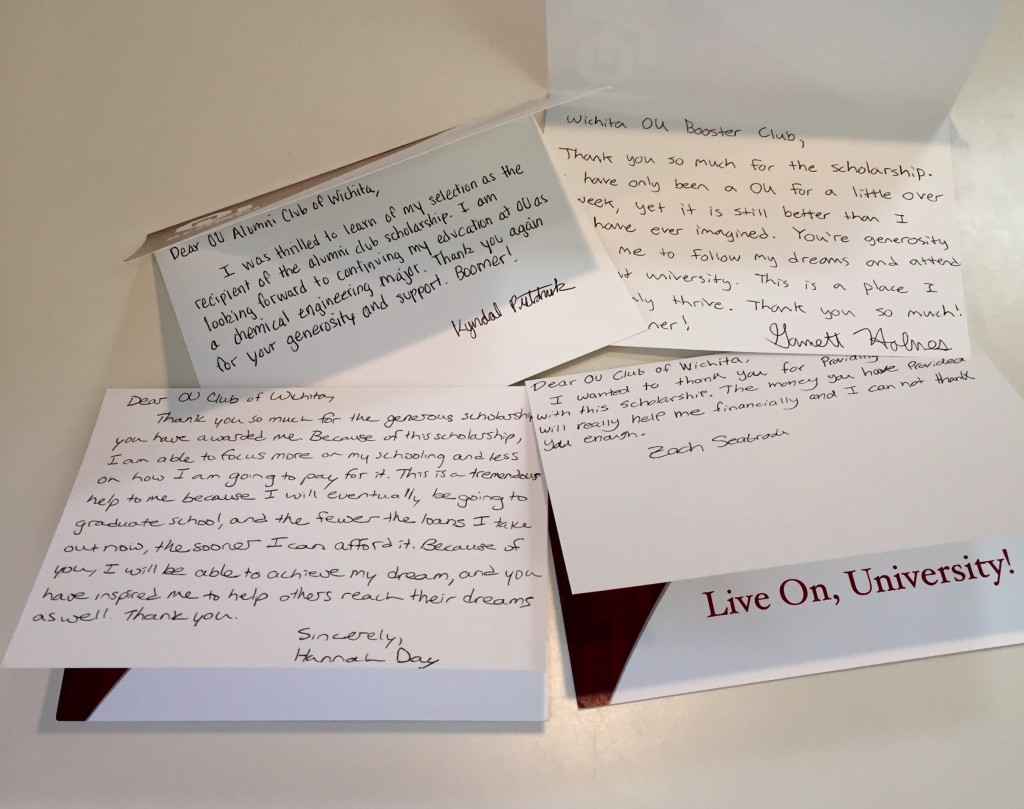 Thank you notes from scholarship recipients